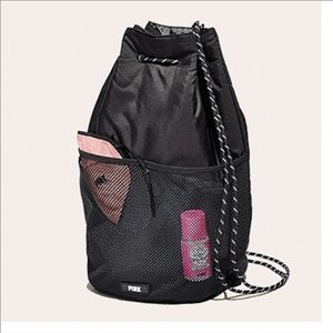 VS PINK Recycled Synthetic Material Drawstring Bag
